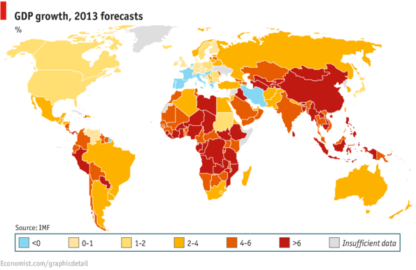 GDP Growth in 2013 forecasts by IMF and Economist