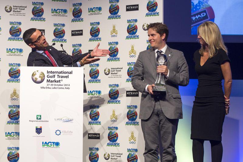 PGA Catalunya Resort CEO Julio Delgado (L) with Director of Golf Miguel Girbes (C) and Director of Sales Monica Martinez (R)