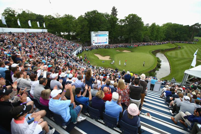 VIRGINIA WATER, ENGLAND - MAY 29: General View as Chris Wood of England celebrates victory on the 18th green during day four of the BMW PGA Championship at Wentworth on May 29, 2016 in Virginia Water, England. (Photo by Richard Heathcote/Getty Images) *** Local Caption *** Chris Wood