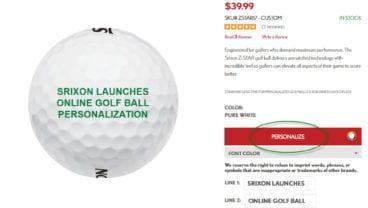 Srixon Online Golf Ball Personalization