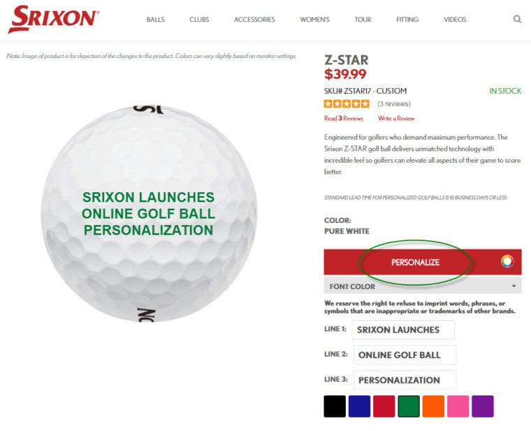 Srixon Online Golf Ball Personalization