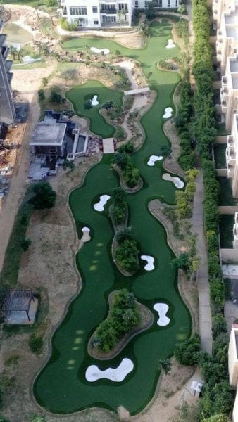 Synthetic turf by Golfplan in India from the air