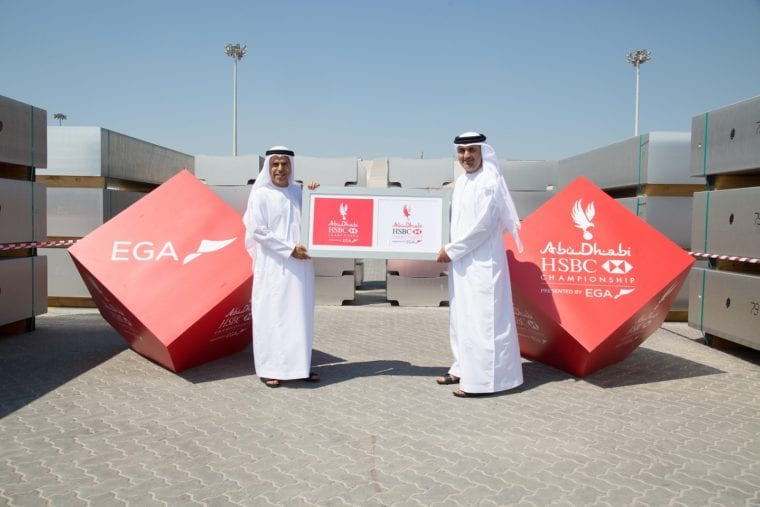 Abu Dhabi HSBC Championship - New pin flags presented by Abdulla Kalban from EGA