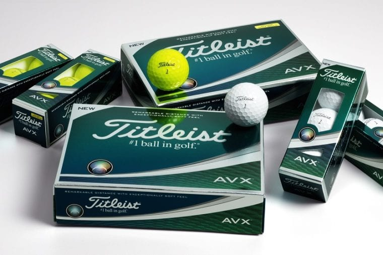 Titleist AVX golf balls in yellow and white colors