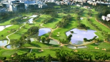 Karnataka Golf Association Flyover of course - aerial view