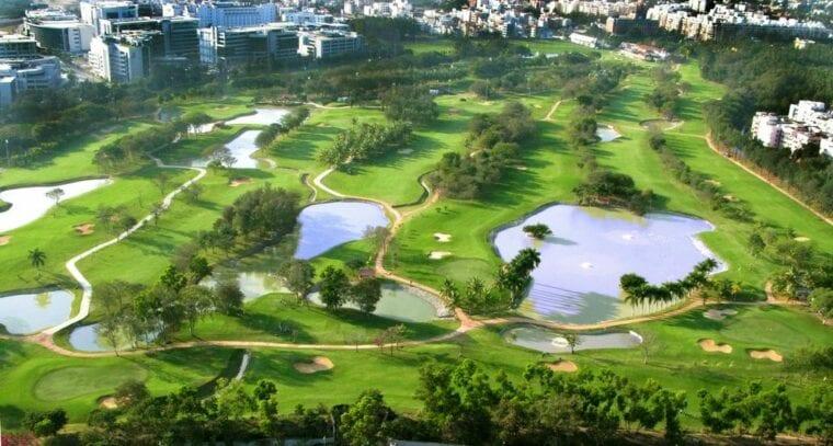 Karnataka Golf Association Flyover of course - aerial view