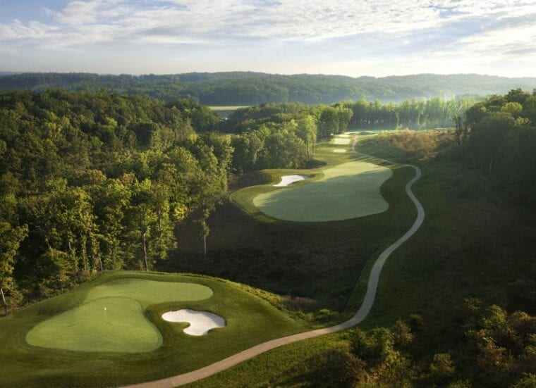 Aerial of the 2nd hole Potomac Shores Golf Club