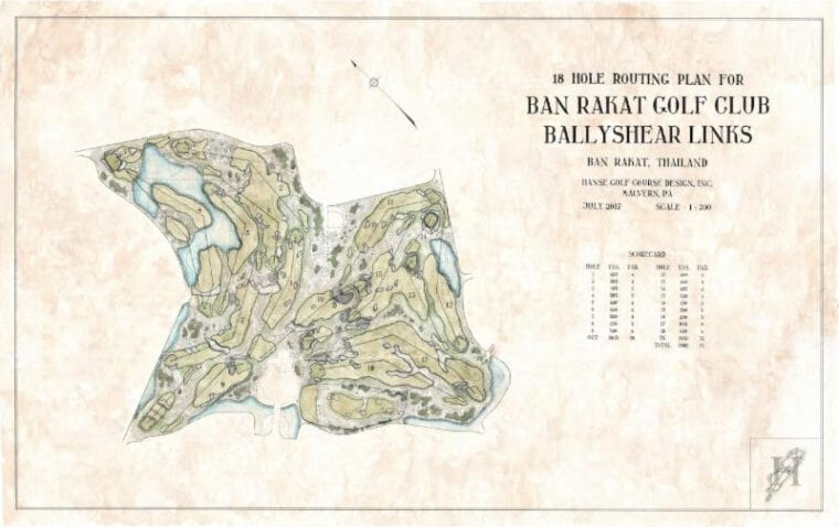 Bangkok's Ballyshear Golf Links at Ban Rakat Golf Club a routing plan