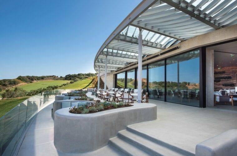 Costa Navarino Bay Course clubhouse balcony
