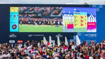 NTT DATA billboard at the 148th Open Championship at Royal Portrush Golf Club
