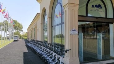 Valderrama PowaKaddy rental fleet at the clubhouse entry