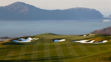 The opening hole on the Golfplan-designed South Course at Island Country Club, south of Seoul Korea