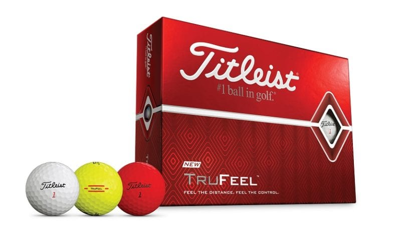 Titleist TruFeel golf ball in 3 colors red white yellow