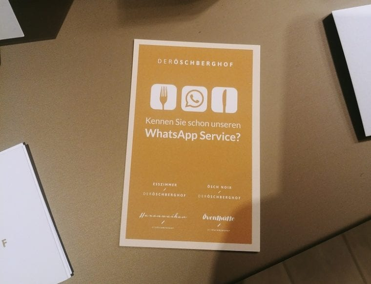 Der Öschberghof hotel restaurant with WhatsApp service