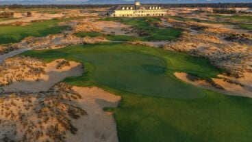 Hoiana Shores Golf Club 11th hole and the clubhouse