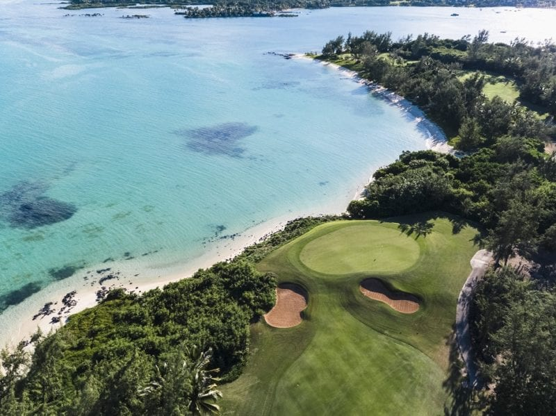 Ile aux Cerfs Golf Club and the ocean Mauritius
