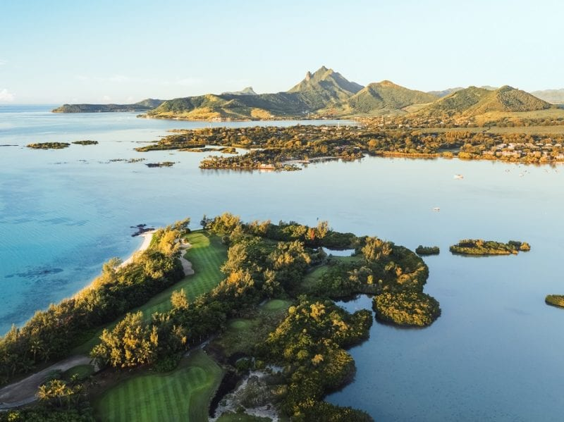 Ile aux Cerfs Golf Club at the end of the island from the air Mauritius