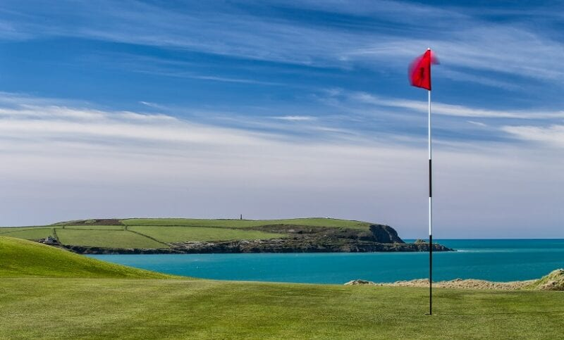16th Green of St Enodoc Golf Club, looking out to Stepper Point