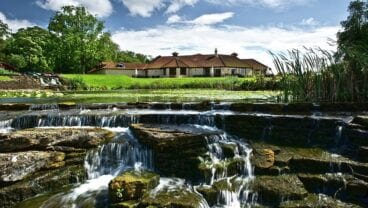The Manor House Golf Club clubhouse from waterfall