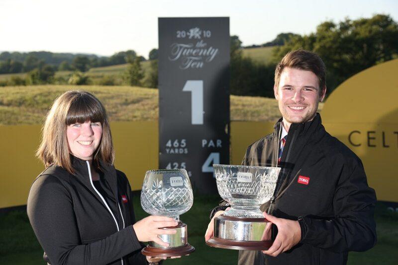 Toro Student Greenkeeper of the Year winners Rhian Barton and Matthew Milligan