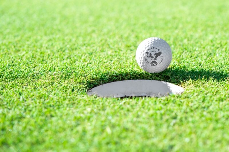 Golf ball and golf hole on green grass with copy space